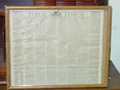Framed Philadelphia Public Ledger, November 27, 1865, Featuring a Letter from President Andrew Johnson