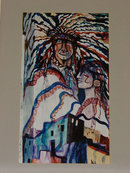 """Stylized Native American Indian Sky Couple and Pueblo"