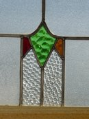 Stylized Diamond with Red & Gold Stylized Triangle Antique Stained Glass Window