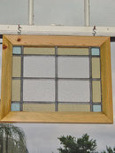 Powder Blue & Pale Yellow Rectangles & Squares Antique Stained Glass Window