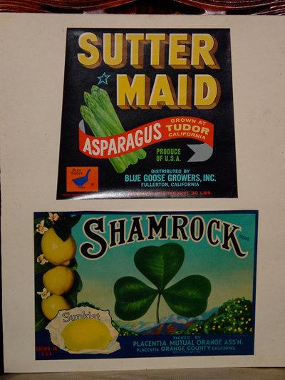 American Vintage Sutter Maid Asparagus and Shamrock Lemons Framed Produce Labels