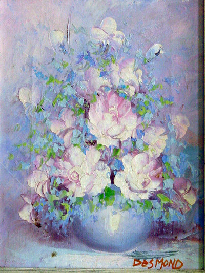 """Blue Vase with Pink Peonies and Blue Delphinium"" Signed Desmond Original Oil on Canvas"