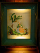 Woman In Garden Encased English Victorian Reverse Painting On Glass