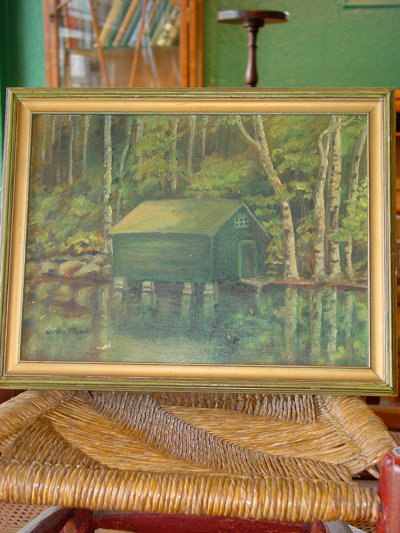 Boathouse & Birches Original Signed Lorena B. Lynch Oil on Board