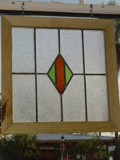 Green and Dark Orange Diamond Antique Stained Glass Window