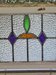 Art Deco Deep Purple Diamond Antique Stained Glass Window