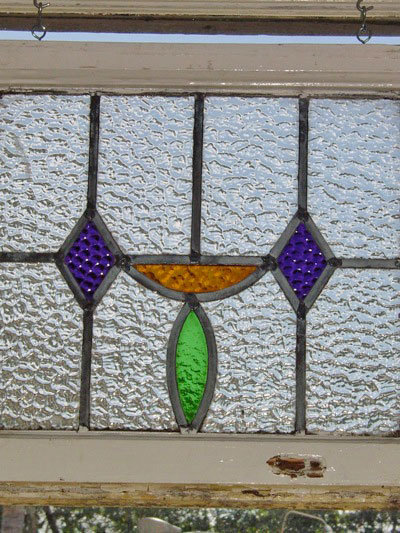 Art Deco Deep Purple Diamond Antique Stained Glass Window