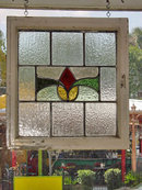Red & Yellow Stylized Rosebud Antique Stained Glass