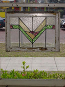 Art Deco Orchid, Green & Yellow Geometric Antique Stained Glass
