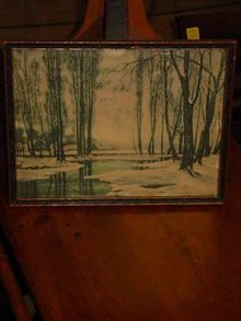 Wooded Winter's Reflection, Vintage Print