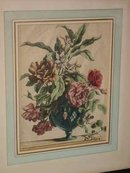 Glass Vase Floral Still Life Antique Baptiste Engraving