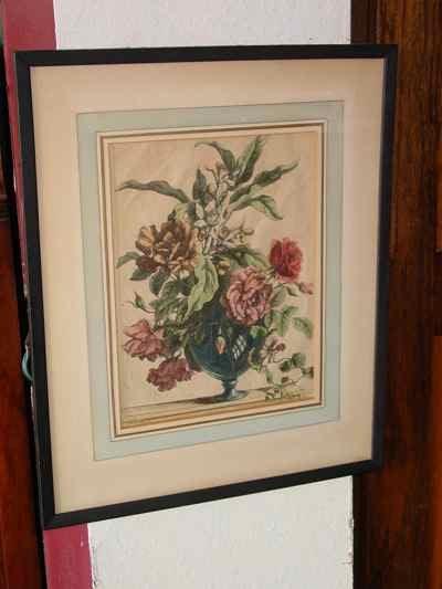 Glass Vase Floral Still Life Antique Baptiste Engraving