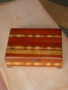 Vintage Cherry & Maple Handmade Box with Inlaid Wood