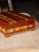 Vintage Cherry & Maple Handmade Box with Inlaid Wood