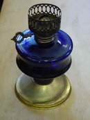 Hong Kong Vintage Blue Glass Oil Lamp by Sailboat