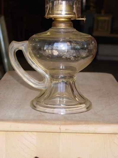 Vintage P&A Eagle Burner Pedestal Finger Oil Lamp
