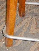 Mid-Century Modern Solid Oak & Aluminum Stool