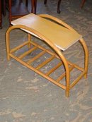 Mid-Century Modern Rattan Bamboo Side Table with Formica Top