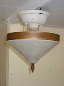 Art Deco Conical Shaped White Opalescent Ceiling Mount Light