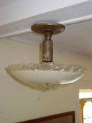 Vintage Pressed Glass Ceiling Mount Light Fixture