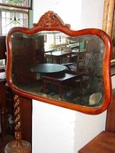 Antique Solid Oak Frame Beveled Mirror
