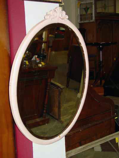 W.M.P. Company Antique Solid Maple Painted Framed Beveled Mirror