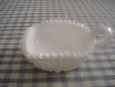 Serrated Rim White Milk Glass Nappy