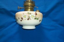 Victorian Hand-Painted Milk Glass Oil Lamp