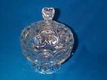 Pressed-glass footed compote. (Moon and Stars)