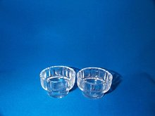 Set of 2, Open Round Pressed  Crystal Glass Salt