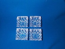 Set of Four, Square Cut Crystal Glass Salts