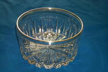 Hand-Cut Glass Crystal Bowl w/Silver Rim