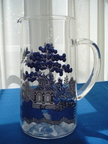 Crystal Pitcher w/Raised Porcelain Painted Japanese Design