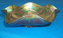 Green Carnival Glass Bowl by Fenton Glass Co.