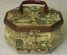 1950's Decoupage Hand Bag w/Tortoiseshell Handle