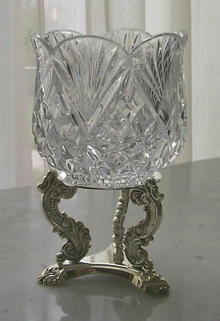 24% Leaded Cut-Crystal Votive w/Silver Plated Stand by