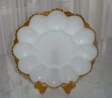 Anchorwhite Egg Plate by Anchor Hocking Glass Co