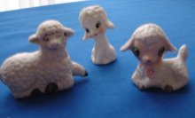 Porcelain Figurines of Sheep,  Set of 3