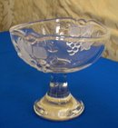 Crystal Glass Compote with Raised Grape Design