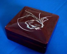 Miniature Japanese Lacquer Box with Inlay Mother of Pearl Design