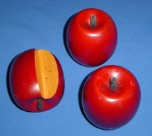 Hand-Carved Wooden Apples, Set of 3