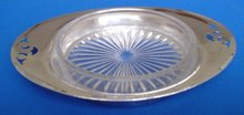 English Silver Plate Tray With Crystal Glass Plate Insert By Yeoman Silver Co.