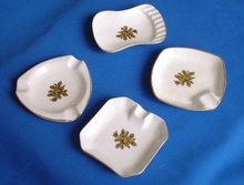 Nest of Limoges Porcelain Ashtrays, Set of 4