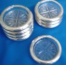 Sterling Silver Coasters With Hand Cut Crystal Bases, Set of 8