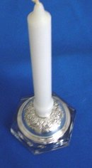 Sterling Silver Candle Holder With Lead Crystal Glass Base
