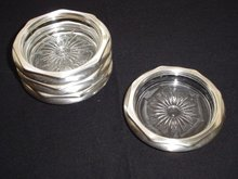 Plated Silver Coasters With Hand-Cut Crystal Bases, Set of 4