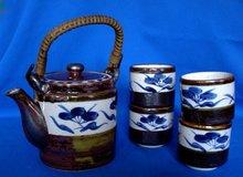 Japanese, Brown Luster, Stoneware Tea Set
