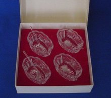 Individual Hand Cut Lead Crystal Salts With Salt Spoons, Set of 4