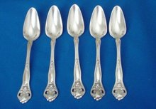 Five Stratford Silver-plate Grapefruit Spoons
