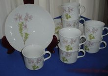 Japanese Porcelain Cup and Plate Snack Set